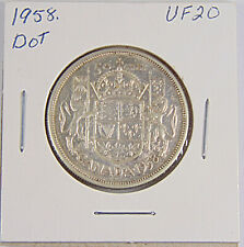 CANADA: 1958 DOT - 50 Cents Silver Coin - Graded VF20