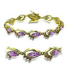 415702 7'' AAA gold CUBIC ZIRCONIA TENNIS BRACELET MARQUISE LIGHT AMETHYST
