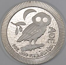 2017 Niue 1 oz Fine Silver Athena Owl Stackable Coin W/ Gov Mint COA