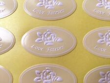 96-Embossed Ivory Rose Love Forever Wedding Invitation/Anniversary Sticker/Seals