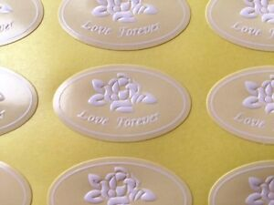 64-Embossed Ivory Rose Love Forever Wedding Invitation/Anniversary Sticker/Seals