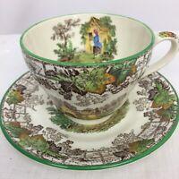 Copeland Spode England Byron Green Trim Transferware Tea Cup & Saucer