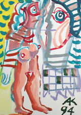 ABSTRACT EXPRESSIONIST ART GOUACHE NUDE WOMAN PORTRAIT DRAWING SIGN