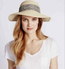 64c2fdb7ee6c6 Ladies Marks and Spencer Natural Mix Sun Hat With Animal Print Bow Size S m