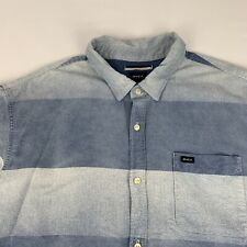 RVCA Button Front Camp Shirt Men's 2XL Relaxed Fit Blue Striped Short Sleeve