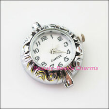 1Pc Tibetan Silver Plated Copper Round Pocket Watch Face Charms 26.5x28.5mm