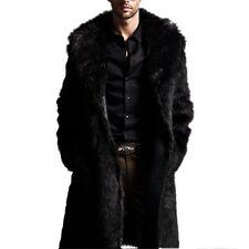 Luxury Black Faux Fur Coat Mens Outerwear Warm Long Jacket Winter Overcoat Parka