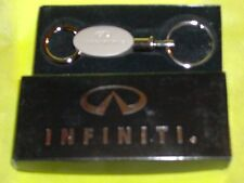 Two Piece Infiniti Key Chain Brushed Silver Metal  New in Original Gift Box