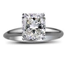 Ring Solitaire 14k White Gold 4.00 Carat Cushion Cut Diamond Engagement