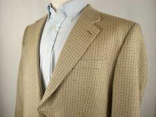 LRL Ralph Lauren Green Label Houndstooth Check Blazer 42 R Silk Brown Gold Khaki