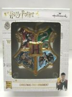 Harry Potter Blown Glass Christmas Tree Ornament Hogwarts Crest Houses Hallmark