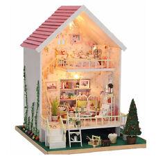 Christmas Gift DIY Doll House 3D Miniature Kits w/ Light - Wooden Dollhouse Toys