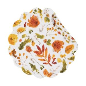 Watercolor Sketches Autumn Fall Leaves Quilted Cotton Round Single Placemat