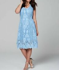 ladies wolf and whistle blue crochet lace dress SIZE 12