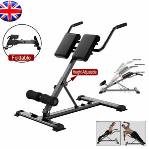 Home Fitness Workout Roman Chair Hyperextension Back Extension Bench Foldable UK