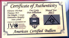 ACB Pure 99.9 Palladium 1GRAIN Bullion Bar with Certificate of Authenticity