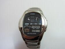 Citizen Watch Black Dial Silver Ana-Digi Analog Digital Temp 8988-S008301 HSB EX