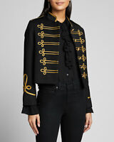 Women Black Cotton Military Commander Officer Gothic Hussar Banned Jacket
