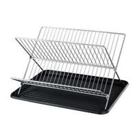 2 Tier Stainless Steel Folding Dish Drying Rack Dish Drainer Kitchen Rack Holder