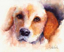 SALE Original Animal WATERCOLOR Painting Impressionism Labrador Puppy Dog Patula