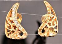 HARVEST REPAIR AS IS:  Gold tone filigree drop rhinesto clip on EARRINGS 1940's