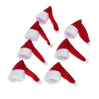10pcs Santa Claus Hat Red Wine Soft Christmas Bottle Cover For Christmas