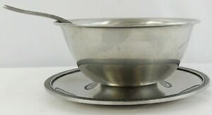 Vintage Cordova Gravy Boat Stainless Steel With Attached Underplate and Ladle