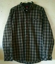 Quiksilver Mens Gray/white Plaid Long Sleeve Button Front Shirt Size Large Used