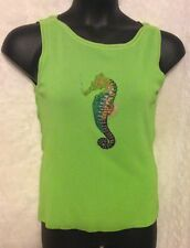 *SWEATERWORKS SEAHORSE SEQUIN COLORS DESIGN BEAD WOMAN TOP SZ M LIME RAYON TANK