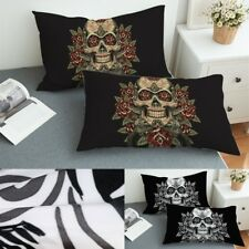 Skull Pillowcase Vintage Pillow Case Cover Black Bedding Set Of 2 King And Queen