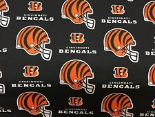 """CINCINNATI BENGALS  NFL 60"""" WIDE COTTON FABRIC BY THE YARD Fabric Traditions bl"""