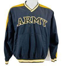 Army Men's Sz L Windbreaker Jacket Pullover Black Yellow V Neck Front Pocket  OC