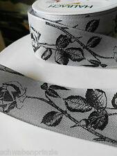 3m Trauerbinde Trauerschleife Rosen 40mm breit Trauerband Schwarz Band Grau