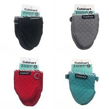 2-Pack CUISINART Silicone Quilted Mini Oven Mitts - BLACK/GRAY/RED/TEAL - NEW