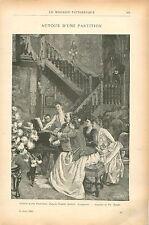 Piano Autour d'une Partition d'Albert Aublet Peintre GRAVURE ANTIQUE PRINT 1903