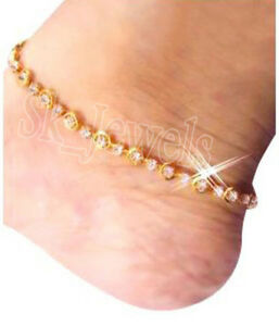 4.22CT NATURAL ROUND DIAMOND 14K SOLID YELLOW GOLD WEDDING SINGLE ANKLET PAYAL