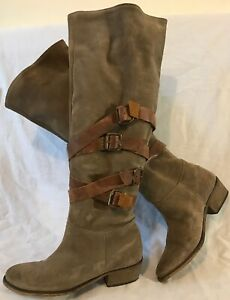 KG Grey&Brown Knee High Suede Lovely Boots Size 38 (304QQ)