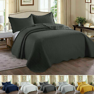 Luxury Quilted Bedspread Throw Set 3 PCs Sofa Bed Cover Single Double King Size