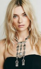 free people Silver Onyx Tone Dangle Bold Necklace NWT MSRP $88