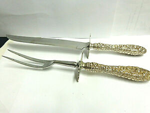 Stieff sterling silver repousse carving set lg size fork& knife 11.50 in lg 2 pc