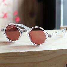 Vintage round polarized sunglasses loop crystal acetate glasses brown lenses