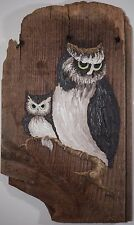 Original Owl Oil Painting on Old Reclaimed Wood, Signed Margie, Ready to Hang!