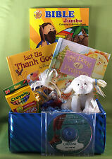 Jesus Loves You Christian Gift Basket for children w/ 2 personalized books