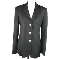 Cheap and Chic by Moschino Blazer Jacket Womens 12 Black Striped Exposed Hems