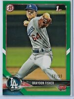 2018 Bowman Draft Green Parallel Braydon Fisher 50/99 Los Angeles Dodgers