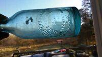 Antique 1850's-1860's NYC BLUE John Lellermann Mineral Water Blob Top Bottle