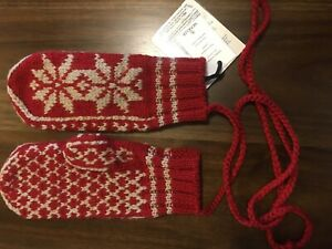 Moncler Knit Wool Blend Red/White Snow Flakes Unisex Gloves ( one size M- L )