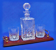 LEAD CRYSTAL DECANTER 2 GLASS TRAY SET Unbeatable Value Gift FREE PLAQUE RRP£195