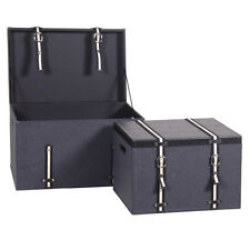 Set of Two Faux Leather Trunks / Faux Leather Trunks / Dark Grey Trunks