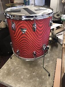 "1969 Vintage Ludwig Standard 16"" Red Astro Floor Tom Drum RARE! w/ case April 1"